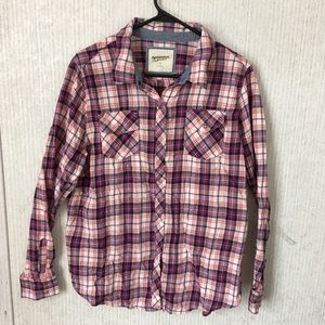 Arizona Jeans Pink and Purple Plaid Button Down XL